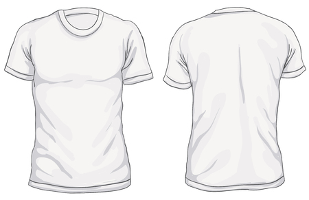 Vector illustration. Blank Men's t-shirt, front and back views. Simple outline shirt design. Isolated on white