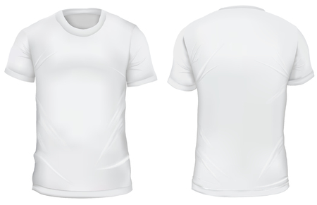 Vector illustration. Blank Men's t-shirt, front and back views. Gradient mesh shirt design. Isolated on white