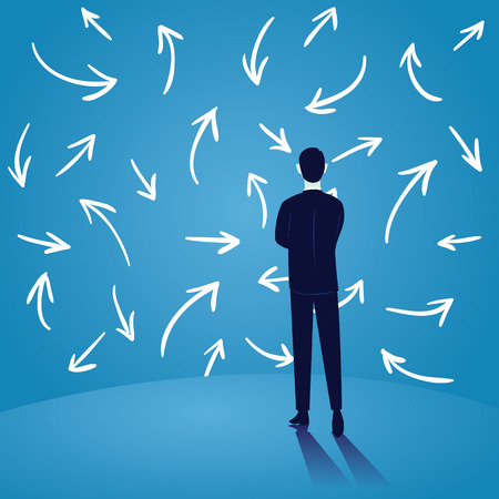 Vector illustration. Dilemma in Business Concept. Businessman confuse to choose direction, withe arrows over blue
