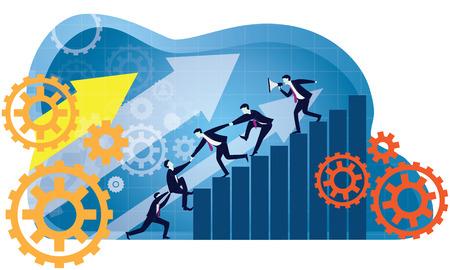 Illustration vectorielle. Concept de leadership de travail d'équipe d'affaires. Hommes d'affaires travaillant ensemble, s'entraidant pour gravir les échelons du succès. Leader motivant son équipe à travailler dur pour le poste le plus élevé