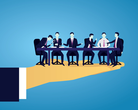 Vector illustration. Team meeting in business concept. Group of businessmen doing discussion communication of teamwork partnership, corporate people