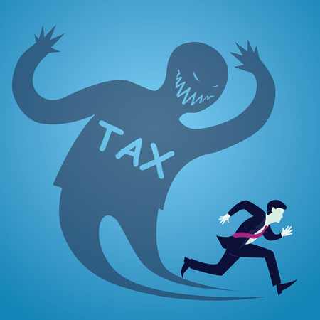 Vector illustration of businessman runaway from tax, haunted shadow concept Ilustração