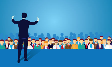Vector illustration of speaker businessman giving lecture at seminar, politician campaign on stage in the front of crowd