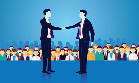 Vector illustration of politician businessman shake hands, political deal agreement in front of crowd