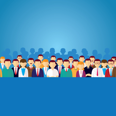 Vector illustration of people's crowd, icon avatar character of businessman and businesswoman