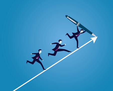Vector illustration. Leder businessman drawing path line direction of success, followed by staffs Çizim