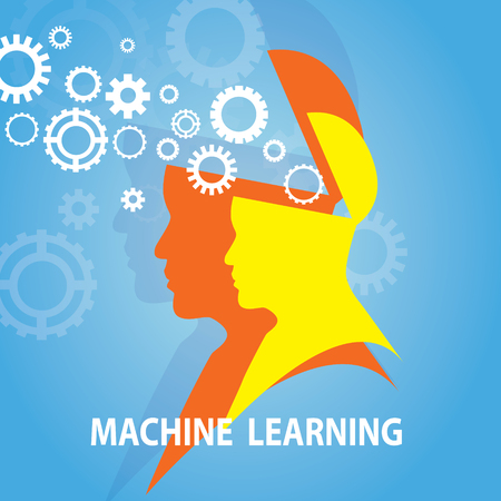 Vector illustration. Machine learning business technology concept, silhouette of human head with brain gears, symbol of artificial intelligence design Ilustração