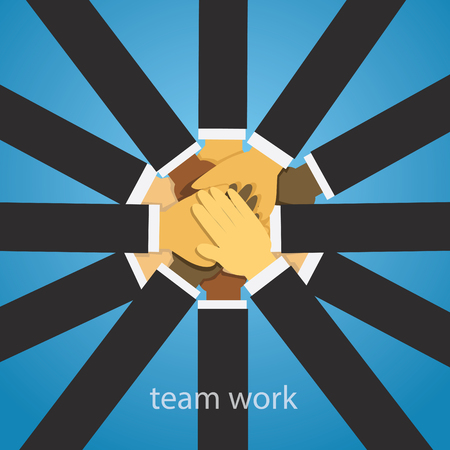 Vector illustration. Business teamwork concept. Icons words typography and symbol of teamwork leadership effort hard work team strategy