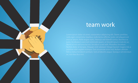 Vector illustration. Business teamwork concept. Icons words typography and symbol of teamwork leadership effort hard work team strategy Çizim
