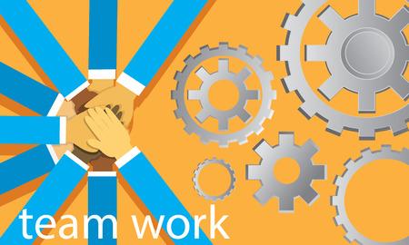 Vector illustration. Business teamwork concept. Icons words typography and symbol of teamwork leadership effort hard work team strategy Ilustração