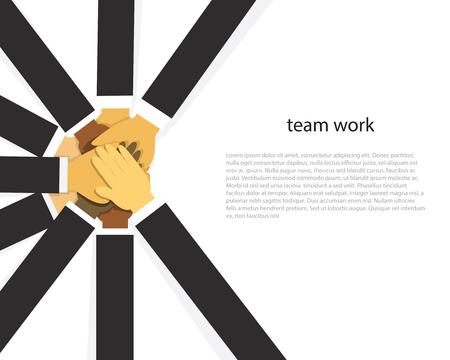Vector illustration. Business teamwork concept. Icons words typography and symbol of teamwork leadership effort hard work team strategy  イラスト・ベクター素材