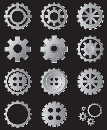Vector illustration, gears in many shape, cut out element design