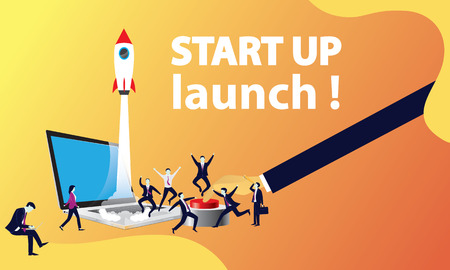 Vector illustration. Business startup project concept. Rocket launching to the sky, modern technology design