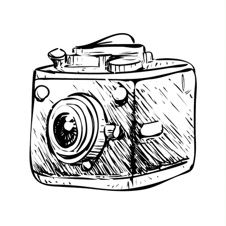 Vector illustration. Retro camera simple doodle design in black and white