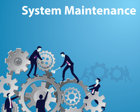 Vector illustration, system maintenance concept. Maintaining gear mechanism to work optimally