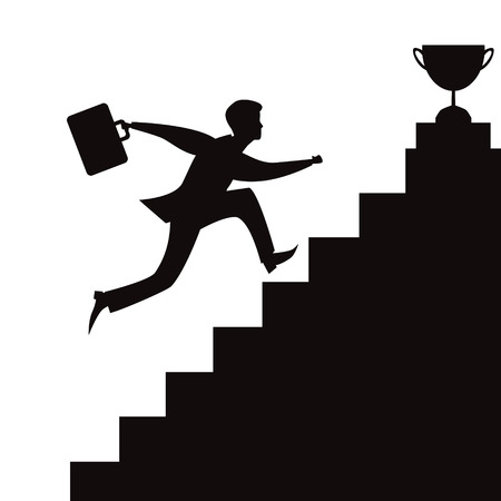 Vector illusration of businessman running on stairs to reach successful victory trophy on top. Black and white silhouette  イラスト・ベクター素材
