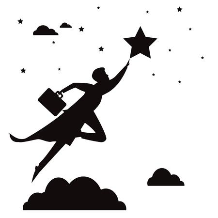 Vector illustation of super businessman flying high reaching star, black and white silhouette Çizim