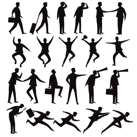 Illustrazione di vettore di persone di affari. Imposta la raccolta di uomini d'affari in varie posizioni di posa, personaggio di sagoma dei cartoni animati Vettoriali