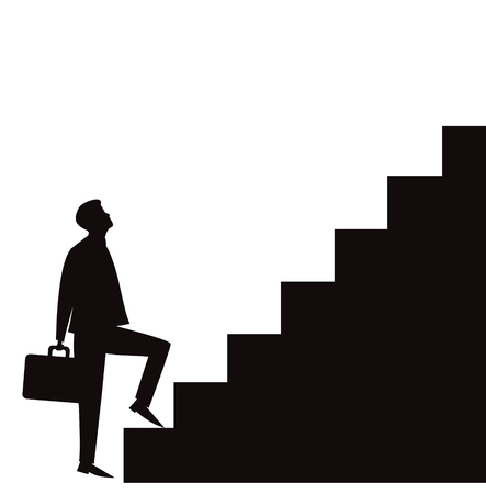 Vector illustration. Future success. first step. Businessman start climbing stair for success in career work, development  growth  progress vision future in black and white silhouette Ilustracja