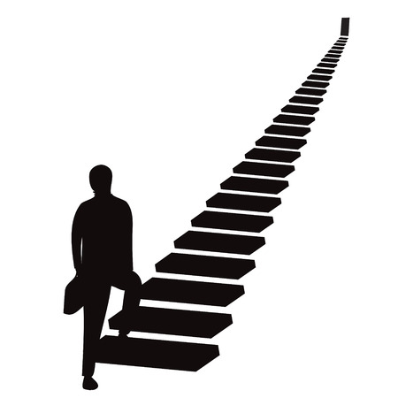 Vector illustration. Future success. first step. Businessman start climbing stair for success in career work, development  growth  progress vision future in black and white silhouette Ilustração