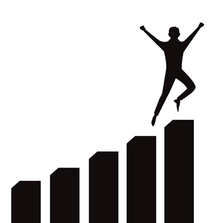 Vector illustration of successful businessman celebrating victory on top of graphic chart, black and white silhouette
