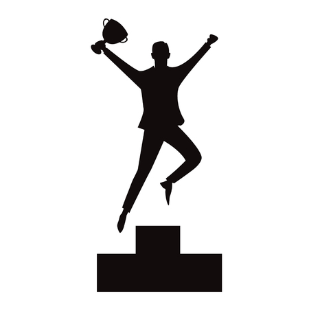 Vector illustration of successful businessman celebrating victory on top winning podium, black and white silhouette  イラスト・ベクター素材