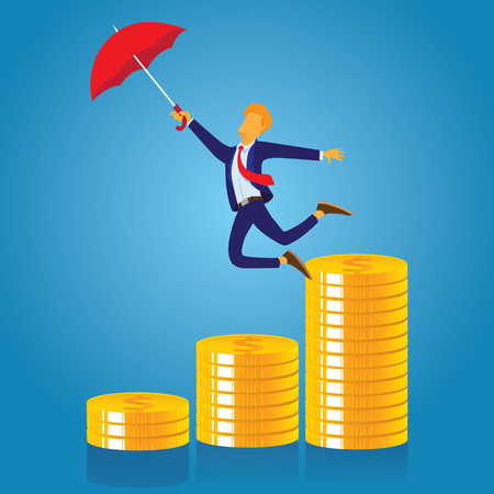Vector illustration of businessman flying with umbrella