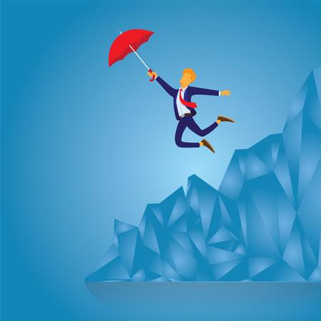 Illustration vectorielle d'homme d'affaires volant avec parapluie Vecteurs