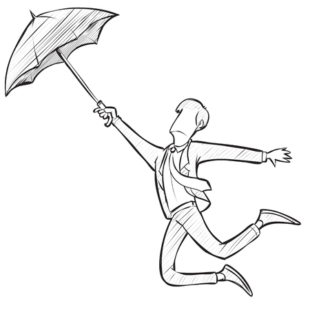Vector illustration of businessman flying with umbrella in doodle simple sketch style