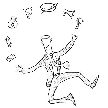 Multi Skill Concept. Businessman juggling business icons and skills. Concept business vector doodle illustration