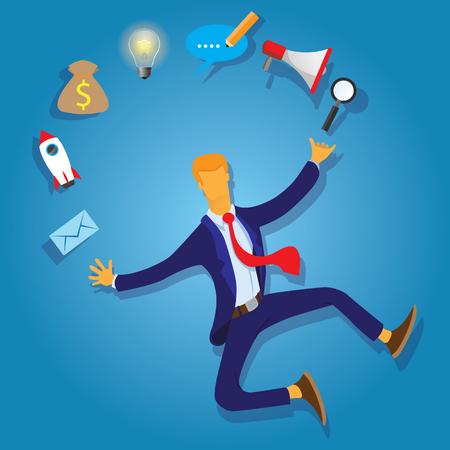 Multi Skill Concept. Businessman juggling business icons and skills. Concept business vector illustration