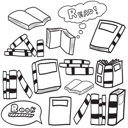 Vector illustration of books in simple sketch doodle design, children drawing style