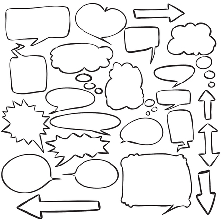Vector illustration of speech bubbles, dialog balloon in simple sketch doodle design,children drawing style