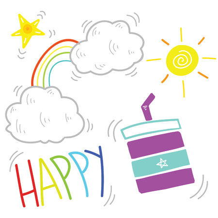 Vector illustration of happy morning doodle, simple line children drawing style Çizim
