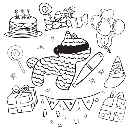 Vector illustration of birthday party in simple line skecth doodle design, chldren drawing style