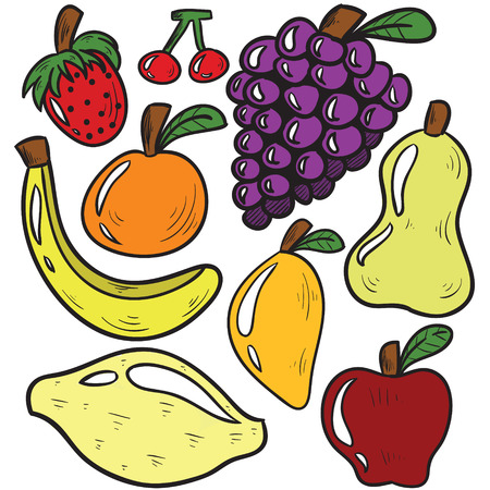 Vector illustration of fresh fruits and veggies cartoon isolated on white