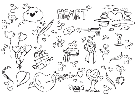 Vector illustration of love doodle, simple sketch children drawing style