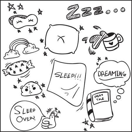 Vector illustration of sleeping element design cartoon doodle, simple sketch children drawing design