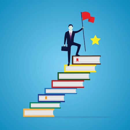 Businessman reach achievement by education. Man conquering top position of books ladder, success with knowldedge concept