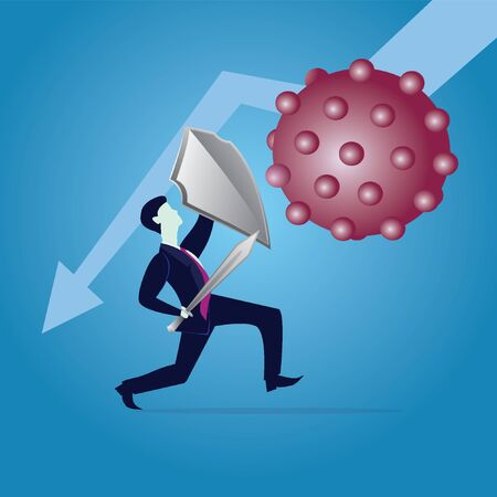 Fighting COVID-19 Coronavirus concept, business risk prevention from covid virus outbreak concept, businessman holding knight shield and sword