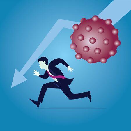 COVID-19 corona virus impact to businessman. Financial crisis due to coronavirus pandemic. Businessman running away from virus. Global economic recession