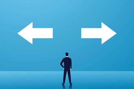 Business choice or decision concept, businessman confuse and thinking hard to choose which way to go, right or left arrow