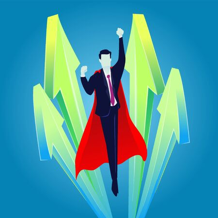 Super businessman flying up, Business growth concept, rise of successful business, up arrows infographic  イラスト・ベクター素材