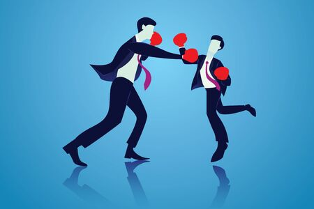 Business competition concept. Two businessmen doing boxing fight, vector illustration  イラスト・ベクター素材