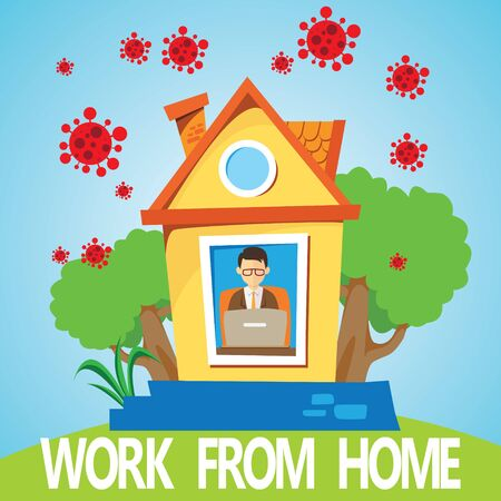 Work from home, covid or coronavirus prevention, man doing his work at home online, new lifestyle due to global pandemic, medical and health care concept