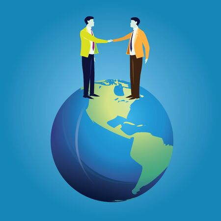 Two businessman doing hand shake on top of earth, symbolizing of global business cooperation  イラスト・ベクター素材