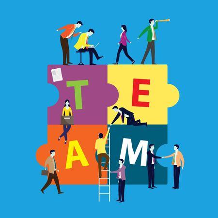 Puzzle team work concept partner. Partnership teamwork business people collaboration together, vector illustration  Ilustrace