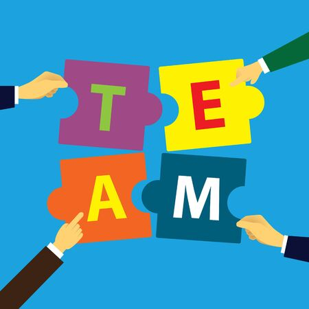 Puzzle team work concept partner. Partnership teamwork business people collaboration together, vector illustration  Ilustração
