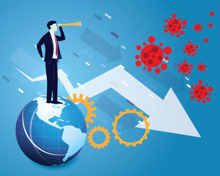 Businessman looking forward with telescope, predicting economic problem in the future due to coronavirus covid19 pandemic, global recession, vector illustration Vectores
