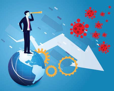 Businessman looking forward with telescope, predicting economic problem in the future due to coronavirus covid19 pandemic, global recession, vector illustration Ilustração